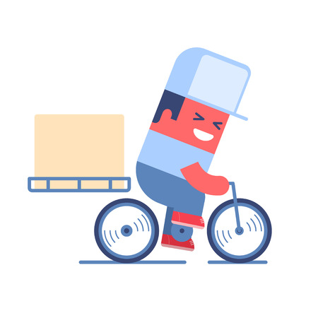 Delivery service. Cartoon delivery man riding a bicycle with delivery box on it. Just place your logo on the cap or box.