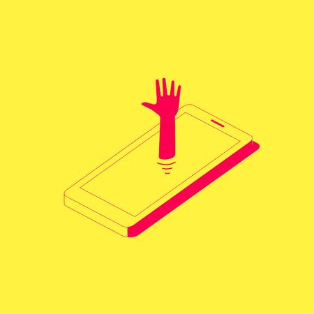 Menschliche Hand, die das Telefon heraus haftet. Smartphone-Sucht-Konzept-Illustration.