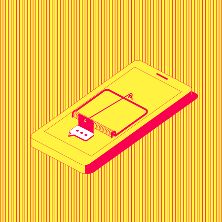 The mobile phone stylized as a mousetrap with a message icon as a bait. Smartphone addiction concept illustration. Illustration