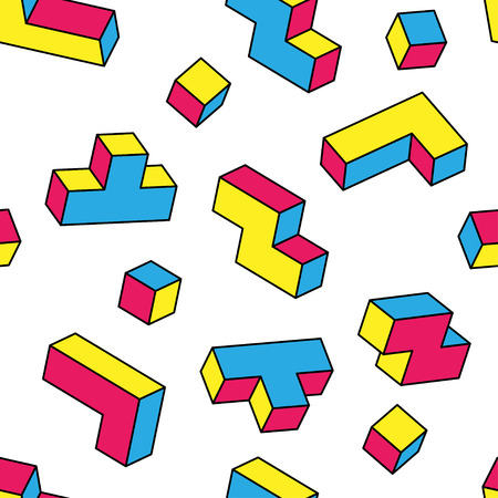 Colorful tetris 3d blocks seamless pattern on white background. Vintage 80s style design. Clipping mask used.