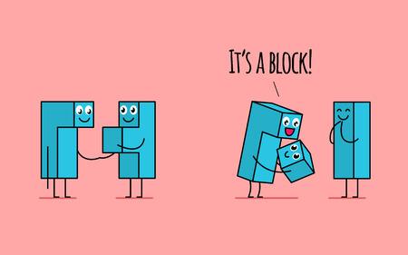 Tetris blockiert die Familie. Männlicher Block, der die Hand seiner schwangeren Frau auf dem ersten Bild hält. Im zweiten Moment hält es das neugeborene Baby und fühlt sich glücklich.