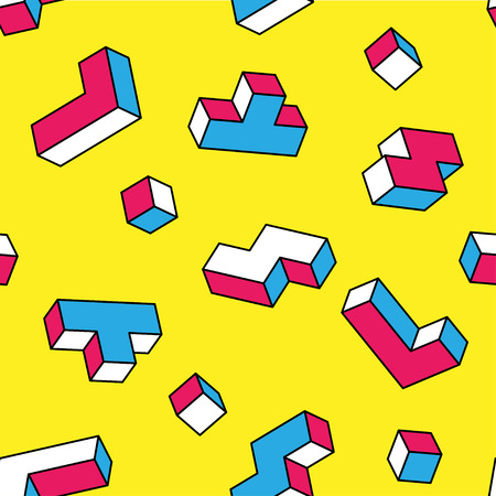 White, blue, red tetris 3d blocks seamless pattern on yellow background. Vintage 80s style design. Clipping mask used. Illustration