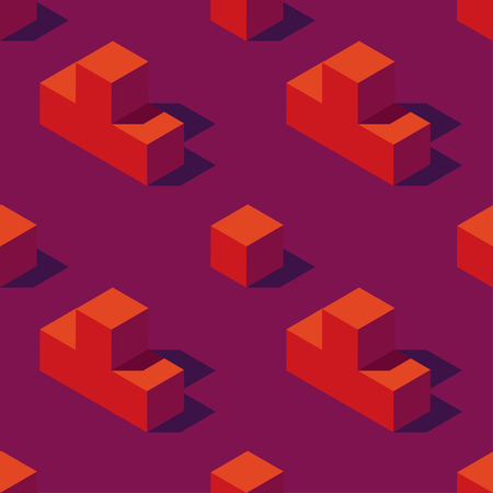 Seamless pattern of isometric game blocks on dark violet background. Vintage 80s style design. Clipping mask used.