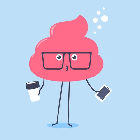 Kawaii pink shit wearing big glasses holding a cup of coffee and smartpone.