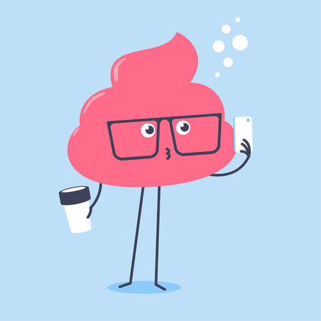 Kawaii pink poo wearing big glasses holding a cup of coffee and taking selfie using smartpone.