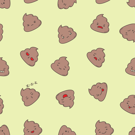 stinky: Kawaii poop seamless pattern. Clipping mask used. Illustration