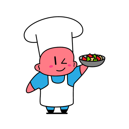 Kawaii chef holding dish with vegetables.