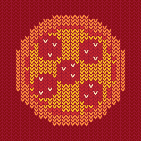 A Jacquard knitted pizza on dark red background. Clipping mask used.