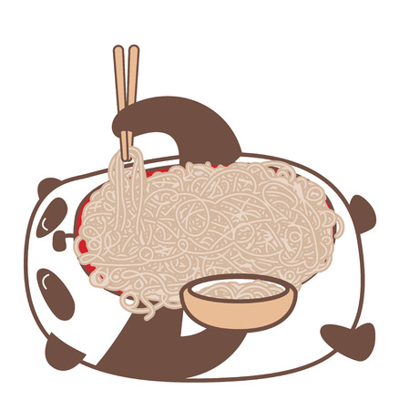 Hungry kawaii panda laying down and eating noodles using sticks. Vector illustration.