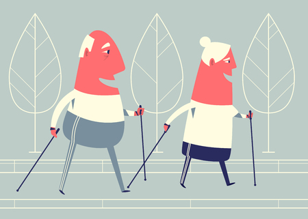 Happy cartoon senior couple is engaged in nordic walking. Stock Illustratie