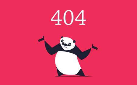 Sad panda spreading its arms. Error page design template.