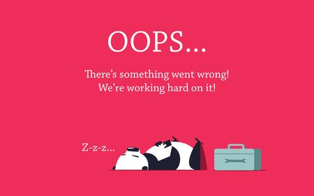 Repairer panda sleeping on the floor. Repair box standing close to it. Error page design template.
