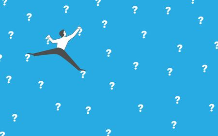 Man climbs the wall on the question marks. Research, science or philosophy concept vector illustration. Clipping mask used.