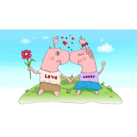 Happy Valentijnsdag kaarten met twee grappige personages en harten op een open plek