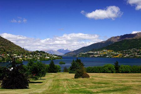 wakatipu: Queenstown and lake Wakatipu Stock Photo