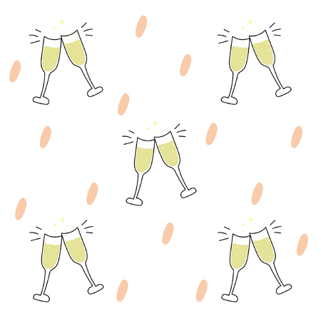 Clinking glasses with champagne. Seamless pattern Illustration