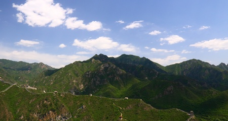 badaling: Beijing Badaling Great Wall with blue sky and cloud shadow Stock Photo
