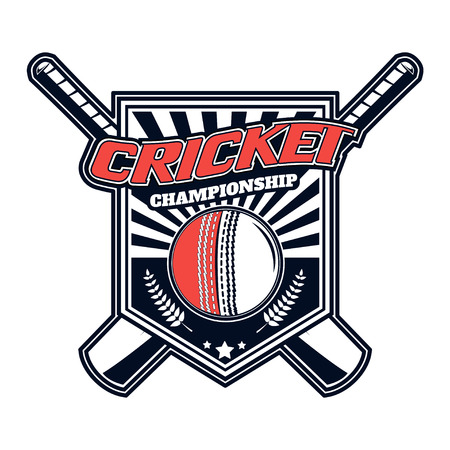 cricketer: Vector logo for cricket game design, team, commercial, print or web on a white background.
