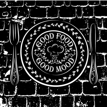 good food: Black and white vector illustration of a plate, fork and knife and the words GOOD FOOD GOOD MOOD. Illustration