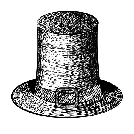 topper: vector illustration vintage cylinder in black and white in the style of a sketch
