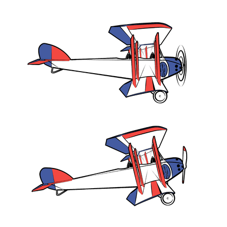 fuselage: Vector illustration of a classic propeller aircraft in static and in flight on a white background.