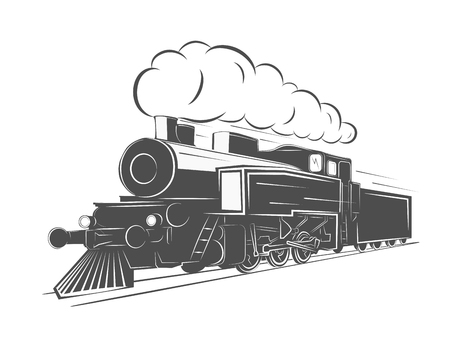steam iron: Vintage steam train isolated on white background, old retro railroad