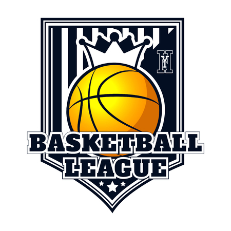 Vector logo basketball game for design, print, advertisement, web, promo on white background Illustration