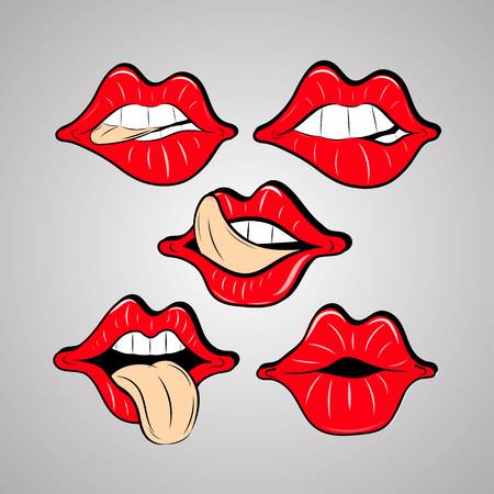 hot woman: Vector set female red lips in a sketch style.