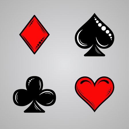 Vector set of card suits in retro style. Clubs, diamonds, spade, heart suit. For use in printing and web.