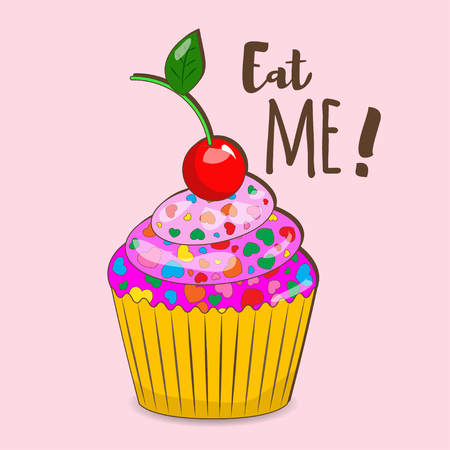 Vector color illustration of a cupcake in a sketch style