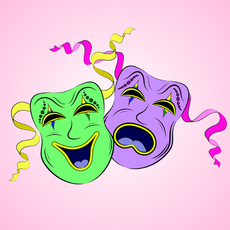 Vector illustration of sad and funny theatrical masks with colored ribbons to holidays Mardi Gras. Illustration