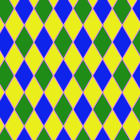 Vector pattern for the Mardi Gras holiday. Blue, yellow, green diamonds and pink beads.