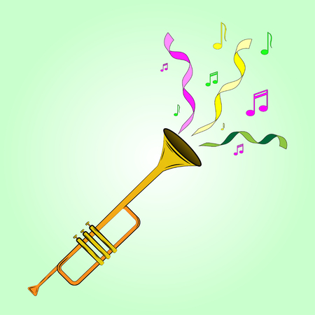 Vector color illustrations cartoon trumpet playing at the masquerade. Multi-colored ribbons and musical notes. Illustration