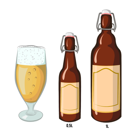 tipple: Vector set of black and white beer bottles half-liter and liter with blank label, where you can write a text and a glass filled with beer