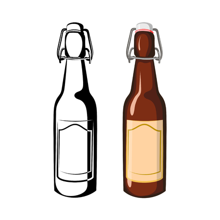 Vector black and white and color illustration half-liter bottles of beer on a white background Illustration