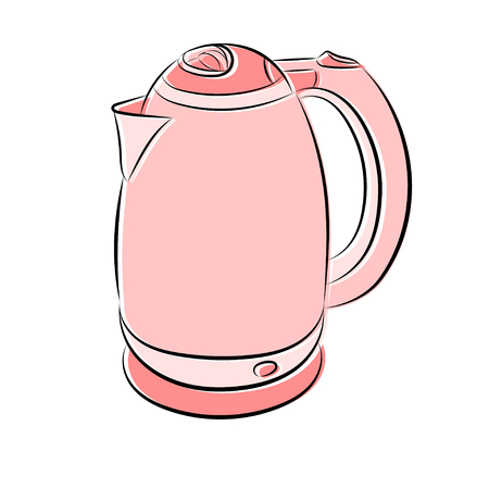 Vector illustration of an electric kettle in pink on a white background
