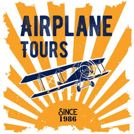 Vector color illustration of a badge for air tours with the image of the classic aircraft in retro style Illustration