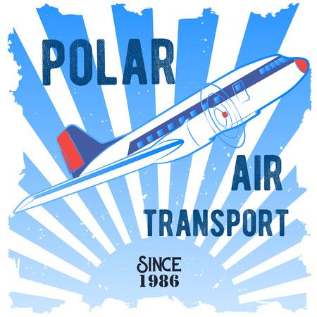 Emblema de las ilustraciones del color del vector que representa el transporte septentrional Avión de propulsor del pasajero.