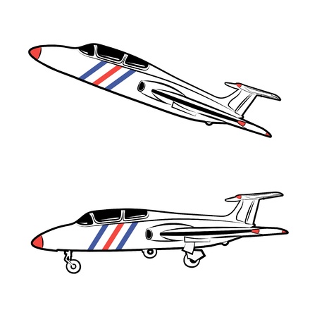 pilot  cockpit: Vector illustration of a military aircraft in a static state and in flight on a white background