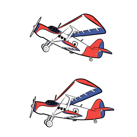 struts: Vector illustration of a classic propeller aircraft in static and in flight on a white background