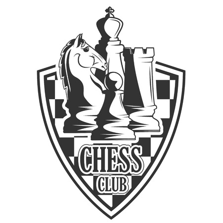 A Vector black and white chess club logo for your design different types of print and internet Vettoriali
