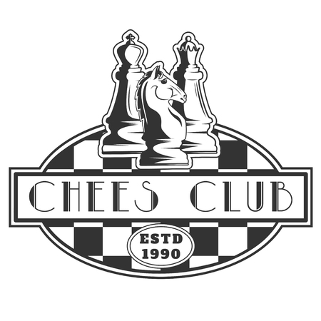 tactics: Vector black and white chess club logo for your design different types of print and internet