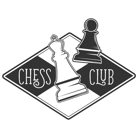 Vector black and white chess club logo for your design different types of print and internet