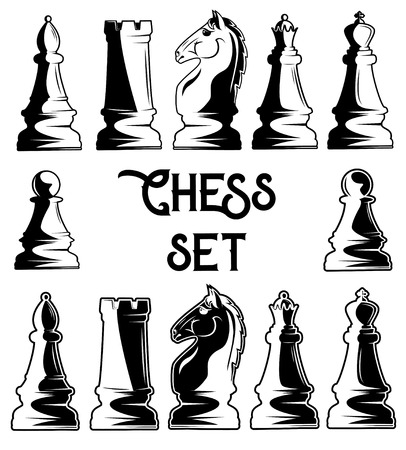 Vector set of black and white chess pieces