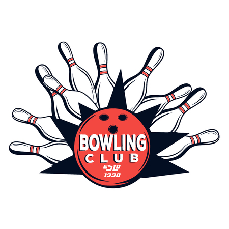 vector bowling club logo for print design internet on white rh 123rf com bowling logos templates bowling logos for shirts