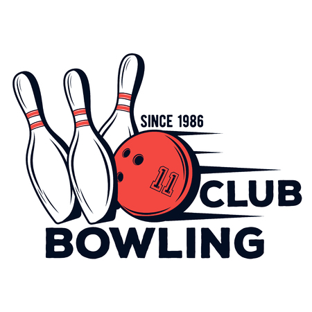 Vector bowling club logo for print, design, internet on white background
