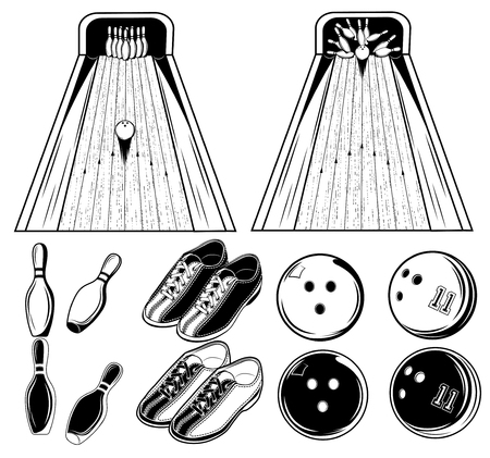 spare: Vector black and white set of elements of bowling game for use in print, design or web on white background