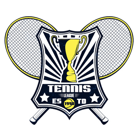 Vector tennis league badge with superimposed texture for your design, print or internet.