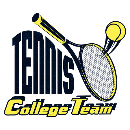 Vector Tennis college team badge with superimposed texture for your design, print or internet Vettoriali