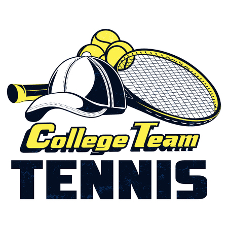 Vector tennis college team badge with superimposed texture for your design, print or internet.